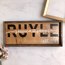 Load image into Gallery viewer, Custom First and Last Name Block Letters Wood Sign with Frame (Early American/Dark Walnut) - Made to Order