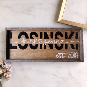 Custom First and Last Name Block Letters Wood Sign with Frame (Early American/Dark Walnut) - Made to Order
