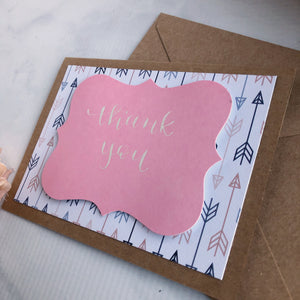 Thank You Card - Blue + Pink Arrows