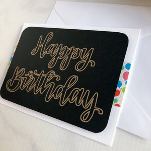 Happy Birthday Card - Gold Outline Balloons