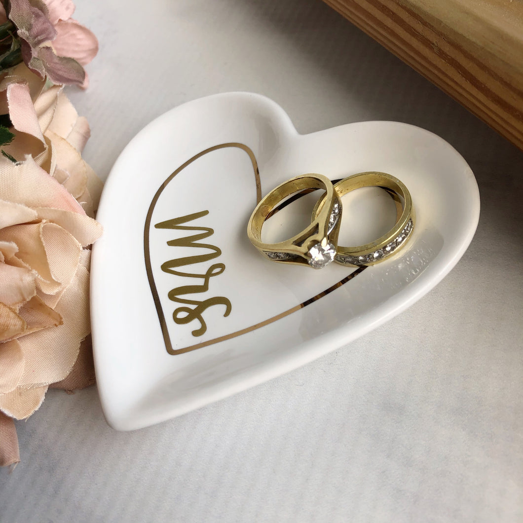 Mrs Heart Shaped Ring Dish