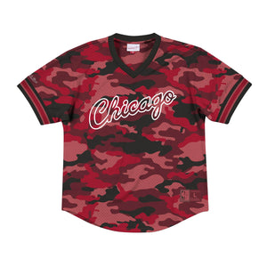 Mitchell and Ness Camo Mesh V-Neck Chicago Bulls T-Shirt - Ameri-Camden