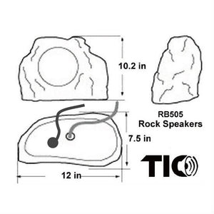 "TIC RB505 - Bluetooth5 Surface-mount Rock speaker 6.5"" 2x50W (Pair)"
