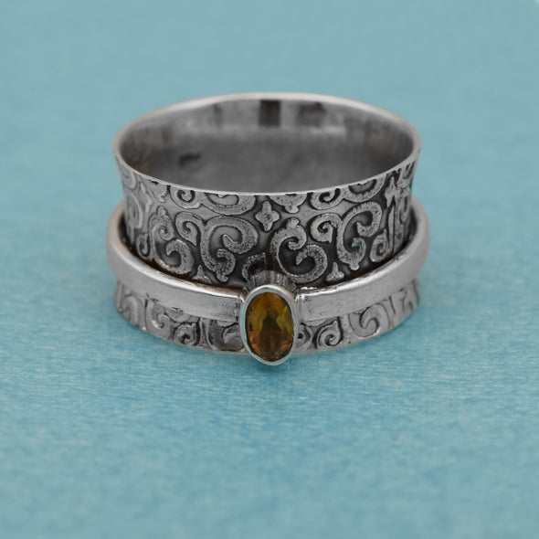 Yellow Citrine 925 Sterling Silver Spinner Meditation Ring