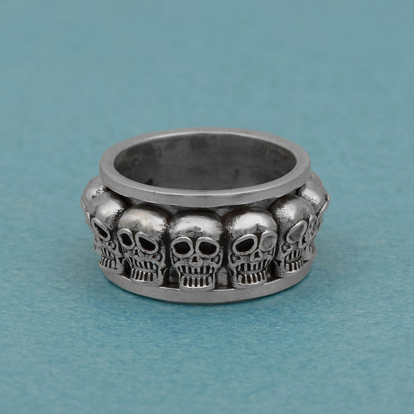 Skull Face Rotating Weel 925 Sterling Silver Meditation Ring