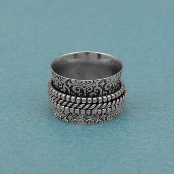 925 Sterling Silver Multi Band Spinning Meditation Anti Anxiety Fidget Ring