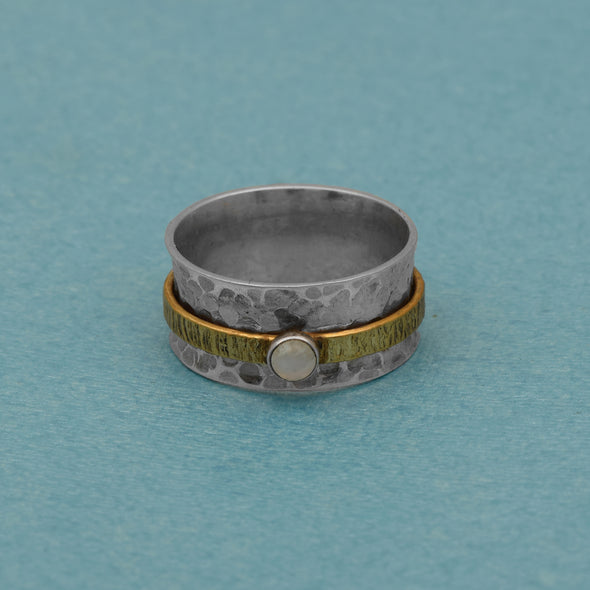 Moonstone Spinner Textured Brass Band Stackable Meditation Ring