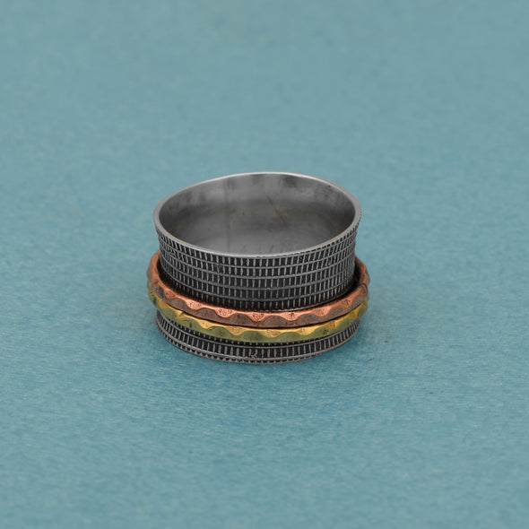 925 Sterling Silver Dual Tone Brass Copper Band Meditation Fidget Ring