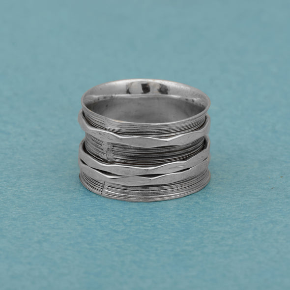 Triple Band Textured Meditation 925 Sterling Silver Fidget Ring