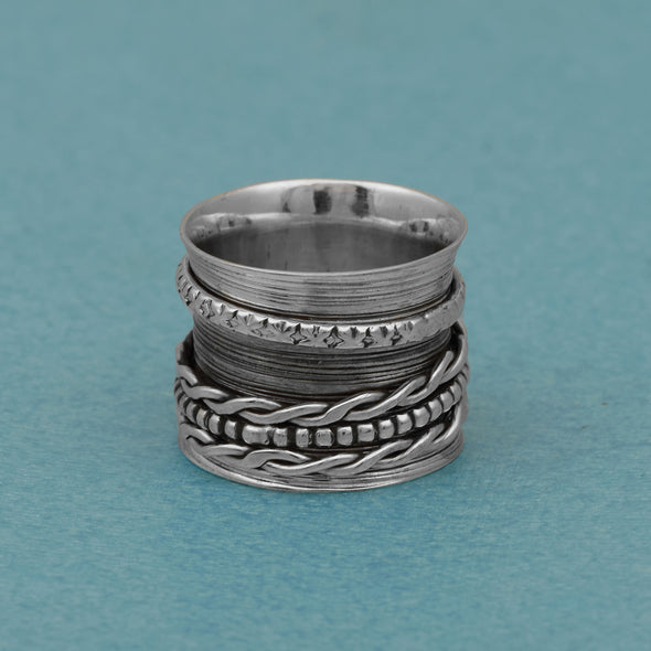 Multi Design Band 925 Sterling Silver Meditation Anti Anxiety Fidget Ring
