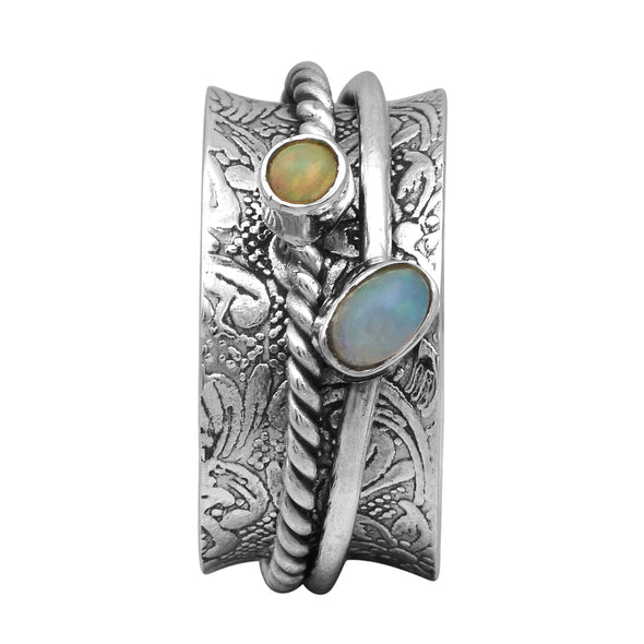 Opal Spinner 925 Sterling Silver Wide Band Two Stone Meditation Fidget Ring