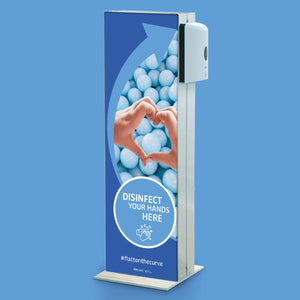 Info column with disinfectant dispenser
