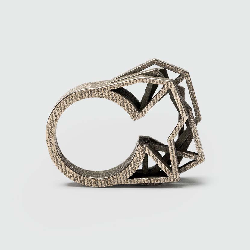 Modern 3D printed steel ring.