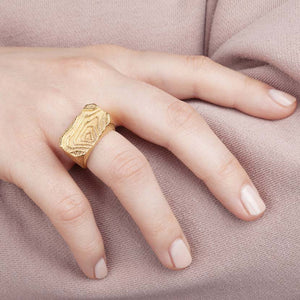 Architectural ring with elevations shown by hand model.