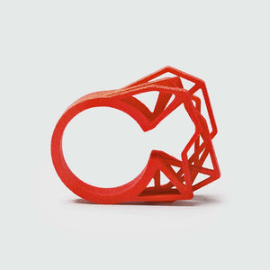 Coral red big statement ring.