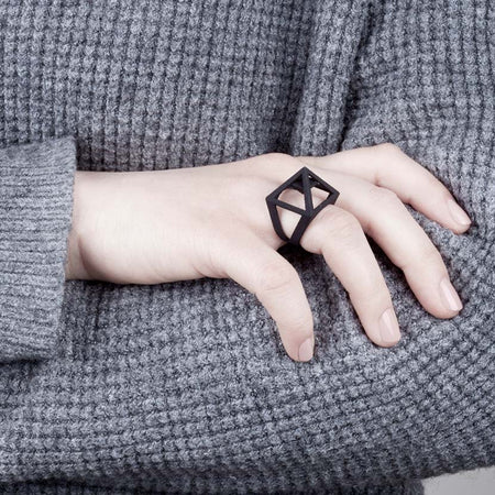 Black pyramid ring in use.