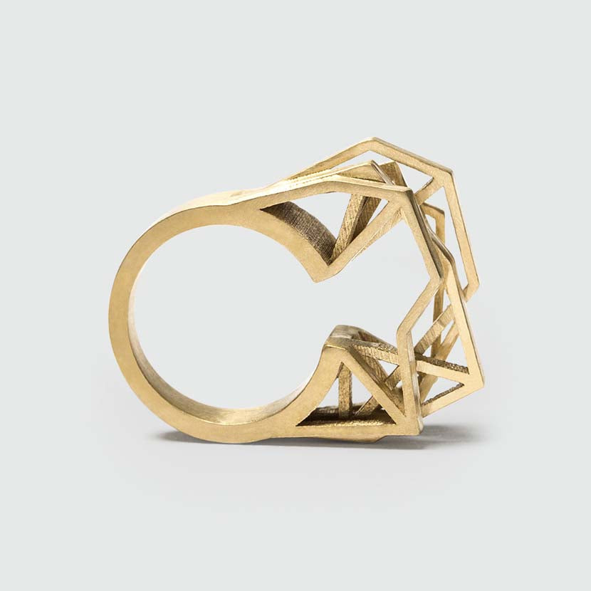 Bold statement ring made of brass.