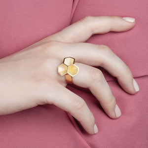Calyx ring presented by model.