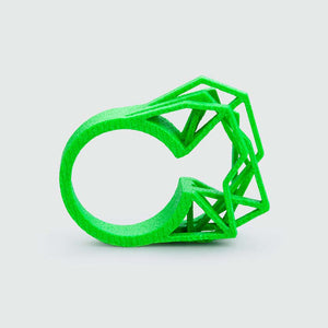 Cyberpunk jewelry ring in neon green.