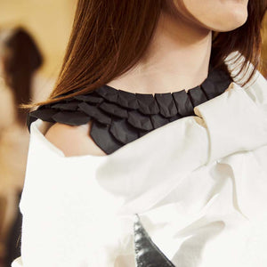 Egyptian collar necklace on Catwalk of Malta Fashion Week.