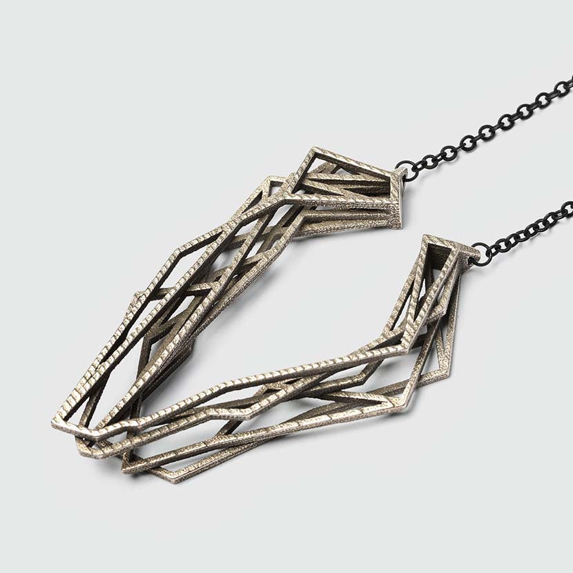 Geometric necklace made of steel.