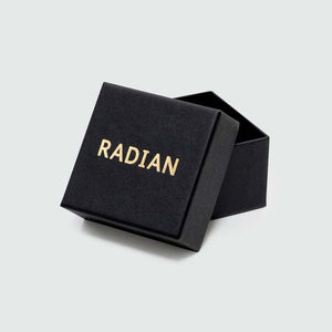 Box with gold branding for our black pyramid ring.