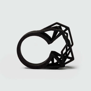 Large black ring made from 3d printed polyamide.