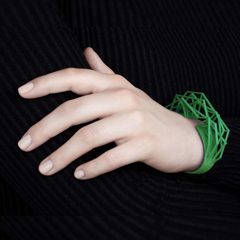 Large cuff bracelet in forest green.