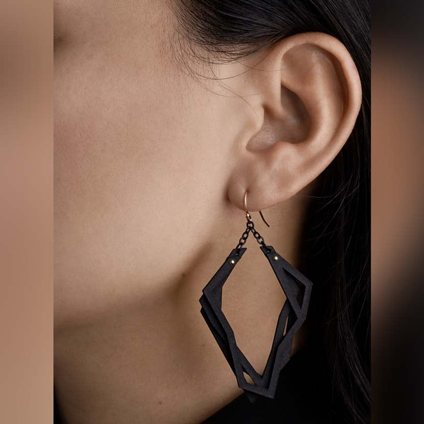 Lightweight black earrings hanging from ear.