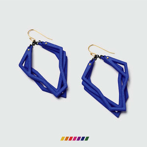 Lightweight statement earrings with color bar.