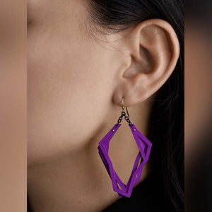 Lightweight statement earrings purple color hanging.