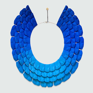 Lynne Maclachlan blue cyan gradient on Nefertiti necklace.