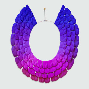 Lynne Maclachlan blue pink gradient on Nefertiti necklace.