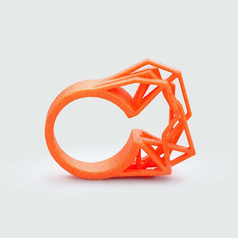 Abstract neon orange ring.