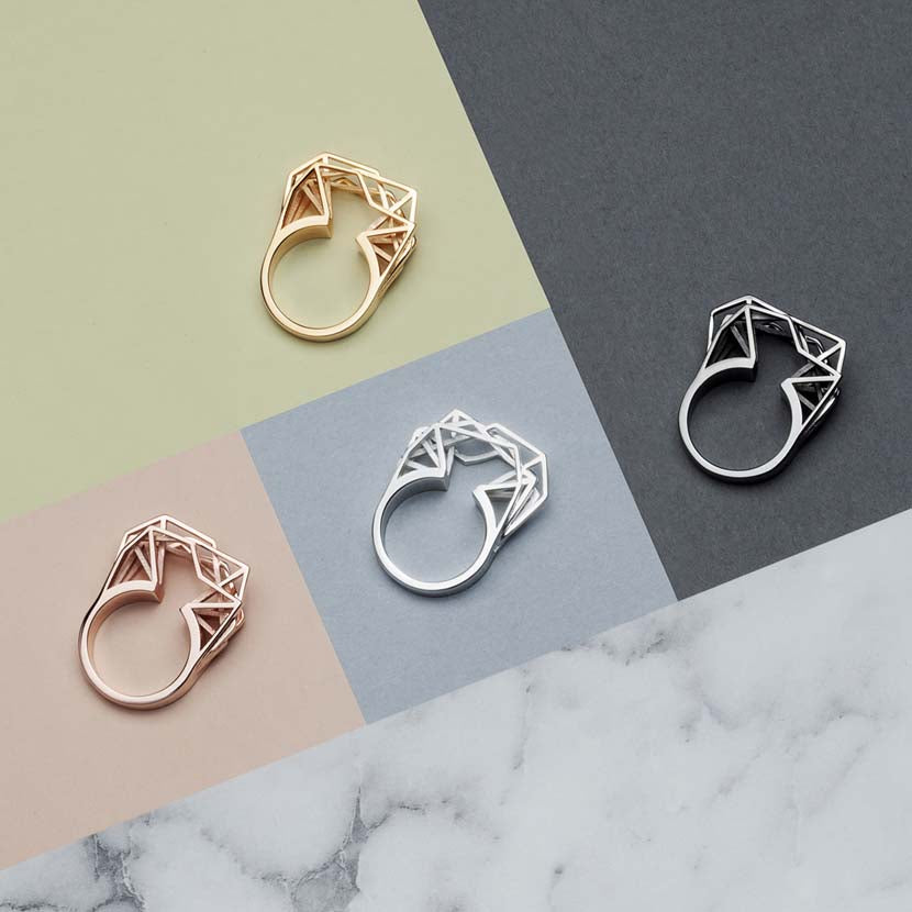 Rose gold statement ring with 3d printed gold, black rhodium and silver jewelry.