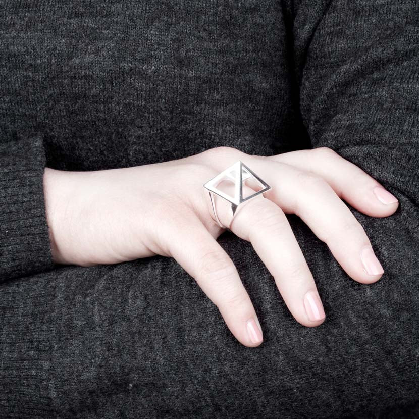 Silver Egyptian ring combined with dark jumper.