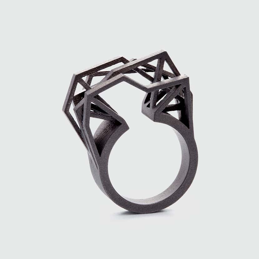 A statement ring titanium standing.