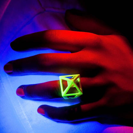 UV jewelry under blacklight.