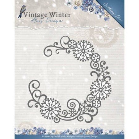 Amy Design - Vintage Winter Collection - Snowflake Swirl Round