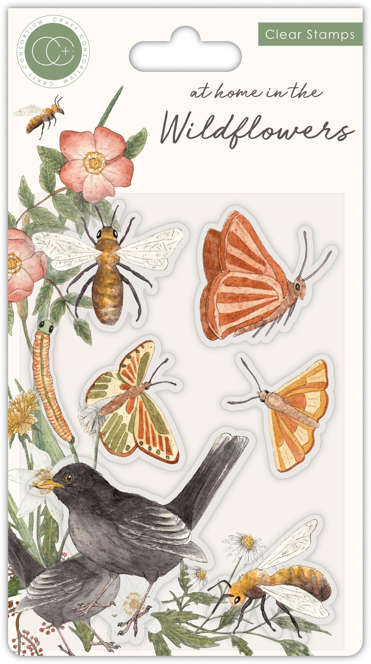 Craft Consortium - Clear Stamps - Bees & Butterflies