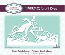 Creative Expressions - Dies - Paper Cuts Collection - Penguins Sledding Edger