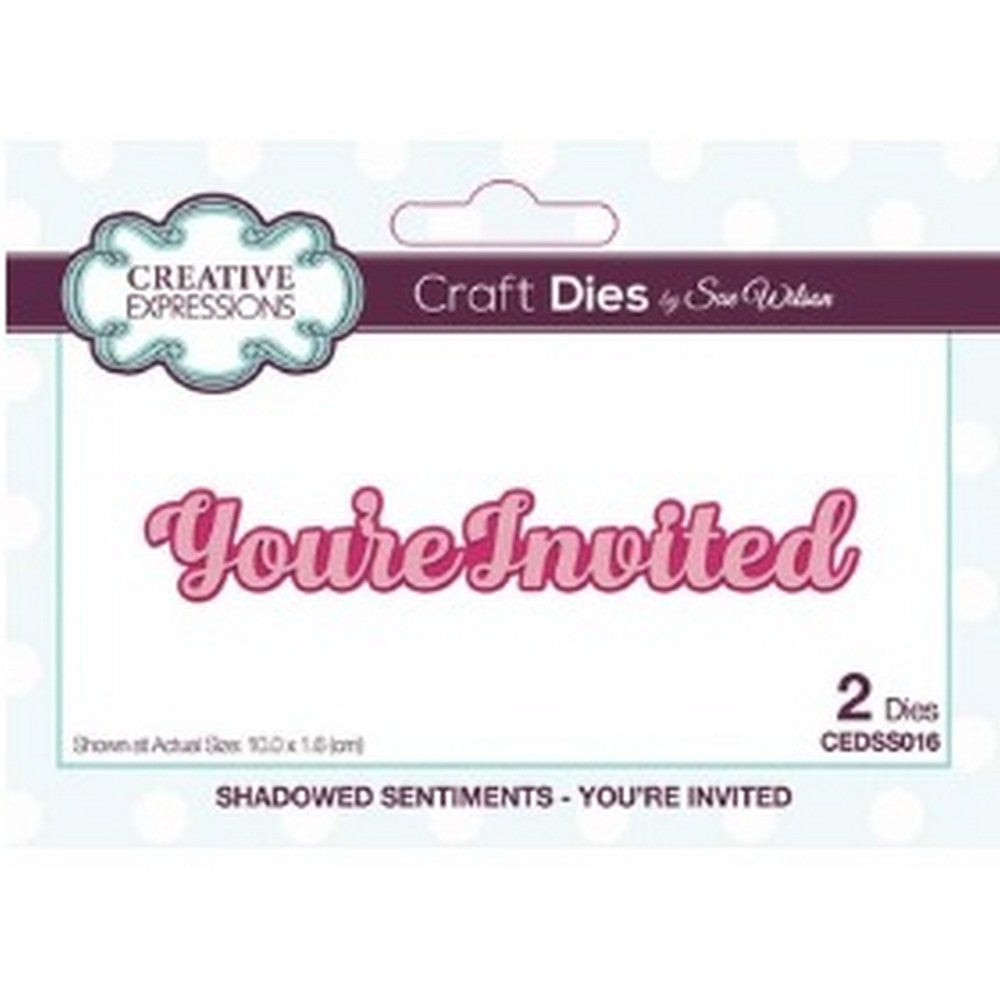 Sue Wilson Designs - Dies - Shadowed Sentiments Collection - You're Invited