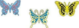 Cheery Lynn Designs - Small Exotic Butterflies #1 w/Angel Wings