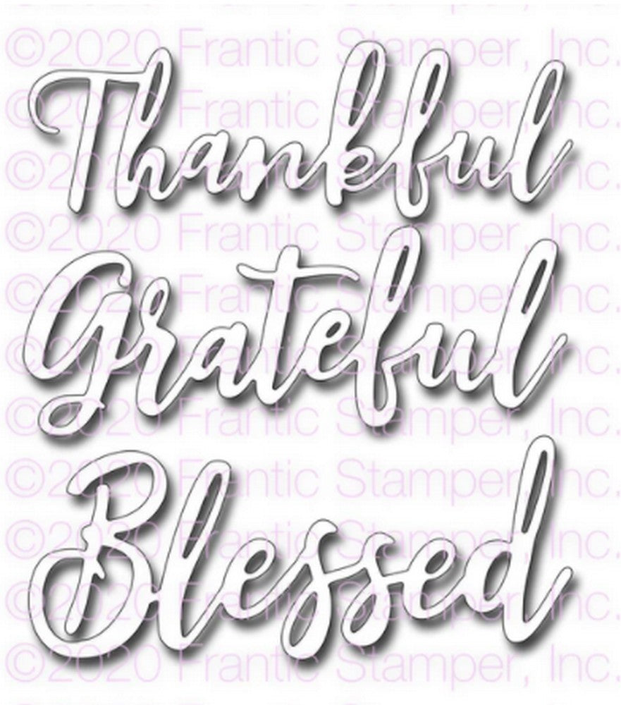 Frantic Stamper - Dies - Scripty Thankful Grateful Blessed
