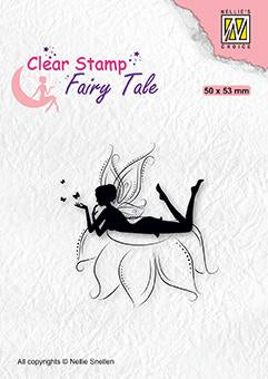 Nellie's Choice - Clear Stamp - Elf Laying On Flower