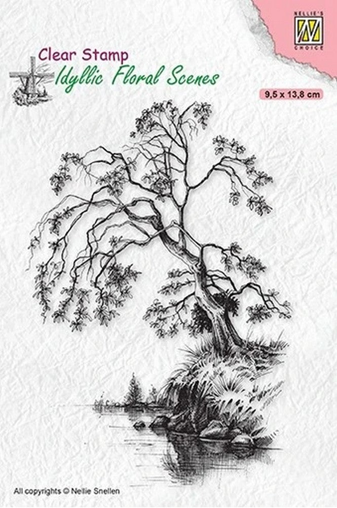 Nellie's Choice - Clear Stamp - Idyllic Tree On Waterside