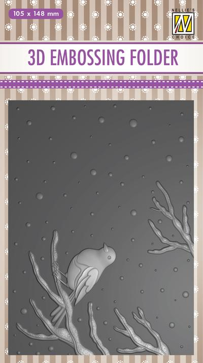 Nellie's Choice - 3D Embossing Folder - Bird On Branch