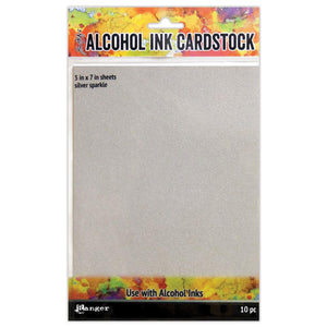 Tim Holtz Alcohol Ink Cardstock - Silver Sparkle - 5