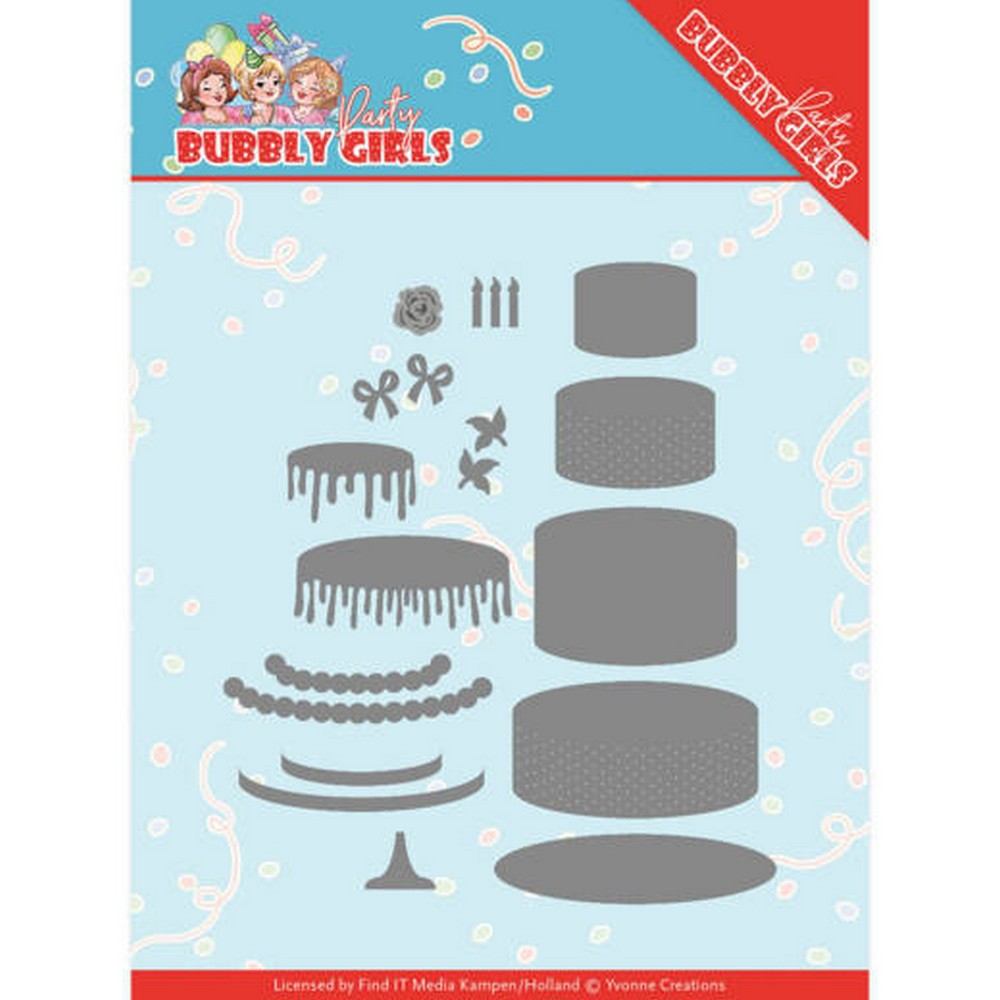 Yvonne Creations - Dies - Bubble Girls Party - Birthday Cake