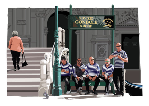 The Five Gondoliers, Venice